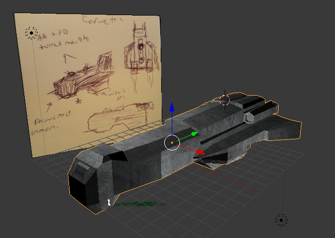 Sketching and modeling in Blender.